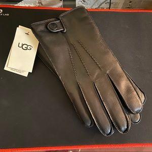 Men's UGG Black Leather Gloves - Large NWT